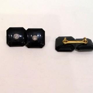 Art deco onyx and diamond cufflinks