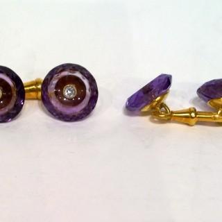 Amethyst and diamond cufflinks