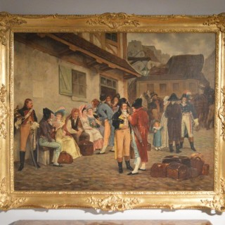 A French Large Oil Painting By Charles Louis Kratke
