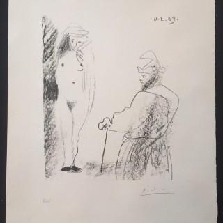Femme nue et homme a la canne