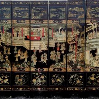 19th Century Chinese Coromandel lacquer screen