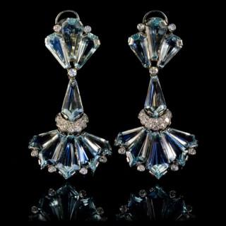 Art Deco aquamarine and diamond earrings