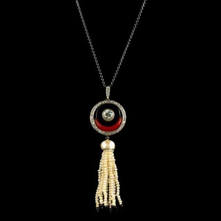 Art Deco diamond, coral and onyx pendant
