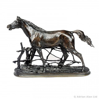Bronze Figure of a Horse at a Barrier