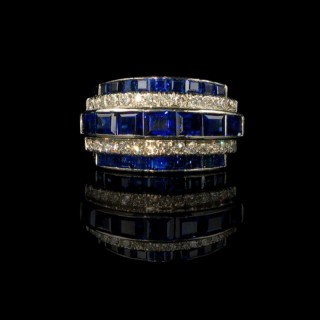 Half hoop ring with sapphires and diamonds