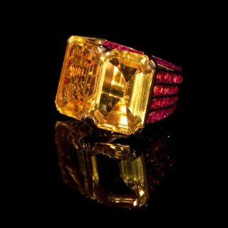 Rose Gold ring with citrines and rubies