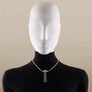 Art Deco diamond set necklace with detachable pendant