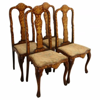 Set of 4 Dutch Marquetry Chairs