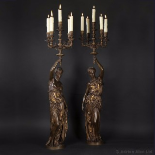 Pair of Gilt and Patinated Bronze Figural Five-Light Candelabra