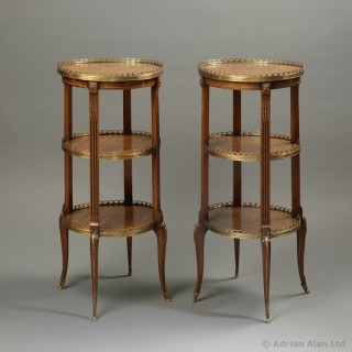 Pair of Marquetry Inlaid Étagère Tables