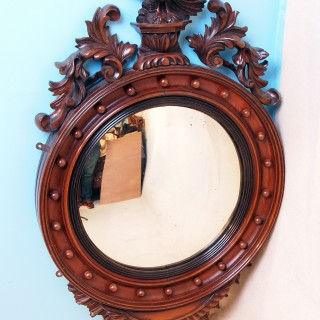 Antique Mahogany Convex Mirror