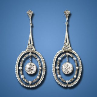 Belle Epoch Diamond and Seed Pearl Pendant Earrings, ca. 1910