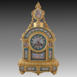 A Gilt Bronze and Blue Celeste Ground Sèvres Style Porcelain Clock