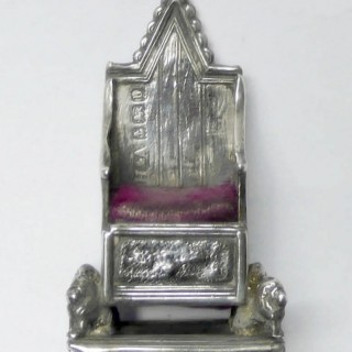 Antique Silver Throne Pin Cushion