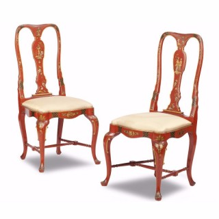 Pair of George II Style Chinoiserie Side Chairs
