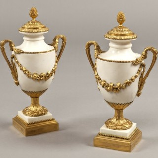 A Fine Pair of Antique  Urns in the Louis XVI Manner Signed by Eugene Bazart of Paris