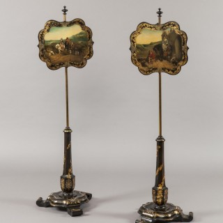 A Pair of Antique Pole Screens Attributed to Jennens & Bettridge
