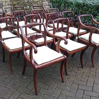Set of Fourteen Regency Dining Chairs