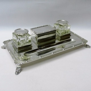 Arts and Craft Style Silver Inkstand