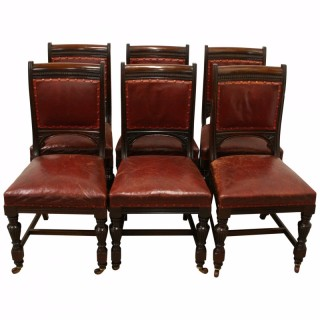 Set of 6 Victorian Mahogany and Leather Dining Chairs