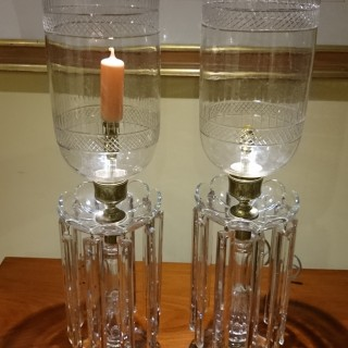Pair of Antique Cut Glass Table Lamps