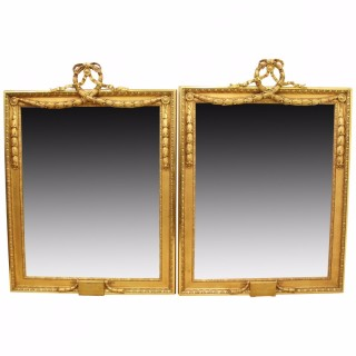 Large Pair of Carved and Gilded Mirrors