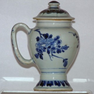 Transitional Blue and White Dry Mustard Pot
