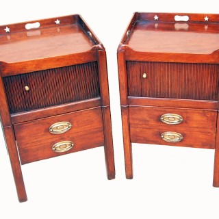 Antique Georgian Matched Pair Of Tray Top Commodes