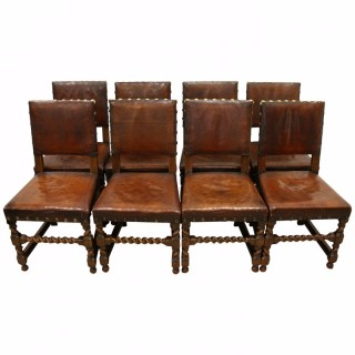 Set of 8 Jacobean Style Oak Dining Chairs