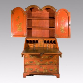 A Queen Anne Period Double Dome Bureau Bookcase with Later Decoration