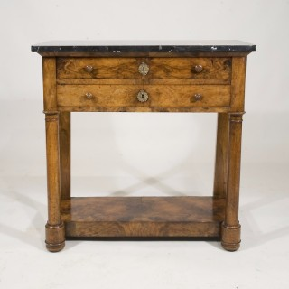 A Charles X Walnut 2 Drawer Marble Topped Pier Table