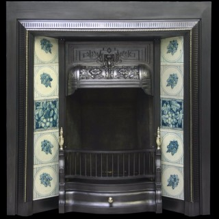 Antique Victorian cast iron and tiled grate