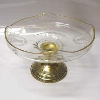 Pair of French Silver and Crystal Tazza Bowls