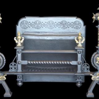 Reclaimed antique bronze & cast iron iron dog grate