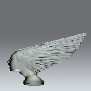 Impressive René Lalique Glass Car Mascot entitled 'Victoire' or 'Spirit of the Wind'