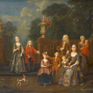 Portrait of an Elegant Family in a Grand Garden
