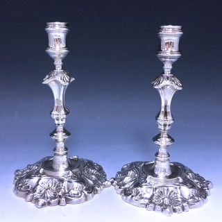 Pair of Early George II Cast Candlesticks