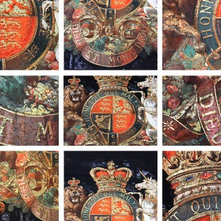 A Very Fine & Decorative Mid 19thC Verre Églomisé Armorial Panel of the Royal Coat of Arms