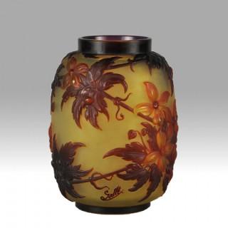 Art Nouveau mould Blown Cameo Glass Flowering Soufflé Vase