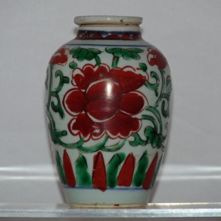 Chinese Transitional Wucai Lidded Jar