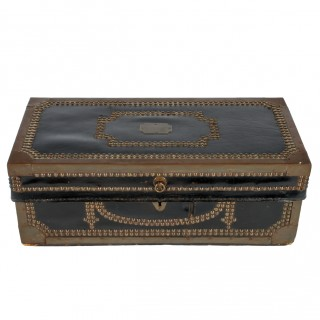 Georgian Leather & Brass Bound Trunk