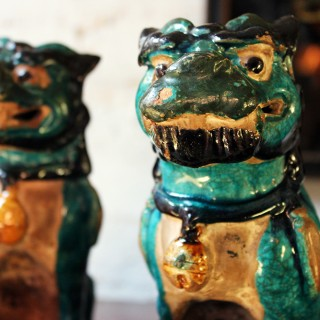 A Decorative Pair of Early 19thC Chinese Turquoise Glaze Dogs of Fo
