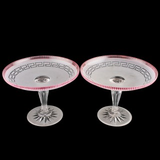 Pair of Victorian Glass Tazzas