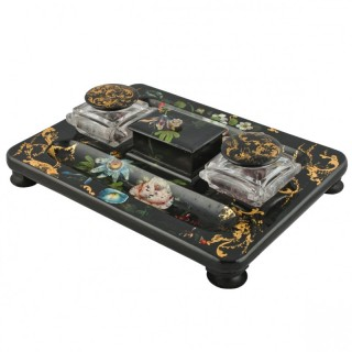 Victorian Back Lacquered Ink Well Stand