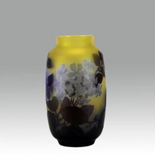 Cameo Glass Vase by Emile Galle - 'Blue Flowering Vase'
