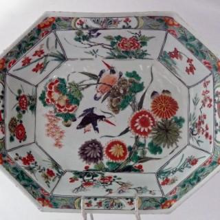 Kangxi - Chinese 18th Century - Famille Verte Octagonal  Dish