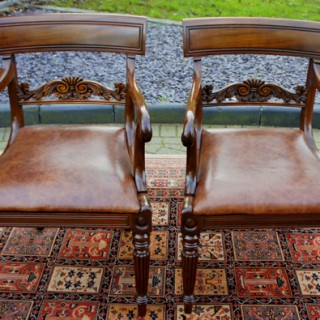 Pair of Antique William 1V Mahogany and Hide Open Armchairs
