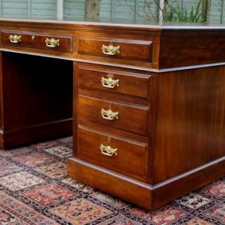 Large Antique Mahogany Partners Desk