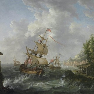 Naval Engagement with American and British Frigates by Johann Caspar Huber 1752-1827