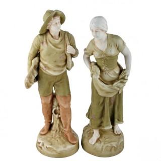 Pair of Bohemian Amphora Fishing Figures